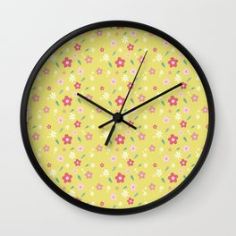 Spring Floral Yellow Wall Clock