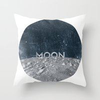 the moon Throw Pillows featuring Moon by Chris Redford