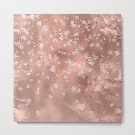 Christmas Rose Gold Metallic Foil White Snowflakes Metal Print