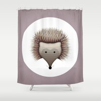 hedgehog Shower Curtains featuring hedgehog by ovisum