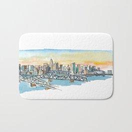 Cincinnati Ohio USA Skyline Impressionistic View Bath Mat