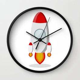 The rocket takes off isolated on a white background Wall Clock