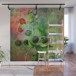 Blackberry Music, Vintage Botanical Illustration Collage Art Wall Mural