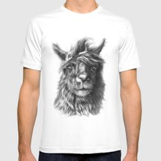 Cute Llama G2013-068 MEDIUM White Mens Fitted Tee