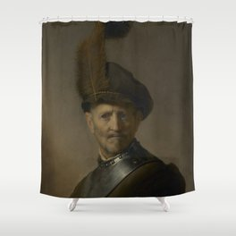 An Old Man in Military Costume Shower Curtain