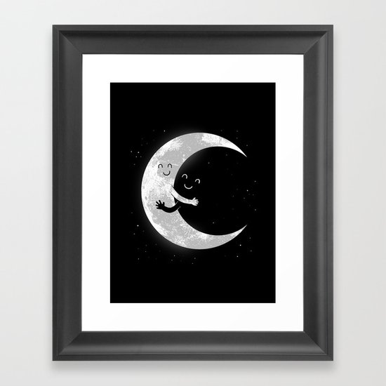 Moon Hug Framed Art Print