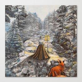 Traversing the winter woods Canvas Print
