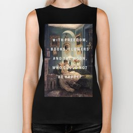 freedom, books, flowers and the moon Biker Tank