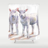 silence of the lambs Shower Curtains featuring Lambs by LouiseDemasi