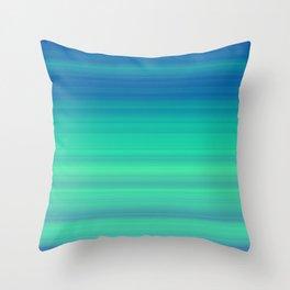 Blue Green Gradient Stripes Throw Pillow