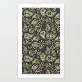 Brown and Tan Paisley Design Pattern Background Art Print