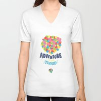 adventure is out there V-neck T-shirts featuring Adventure is out there by Risa Rodil