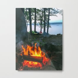 Campfire and Kayaks on Lake Pemaquid in Damariscotta, Maine Metal Print