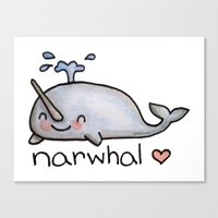 narwhal Canvas Prints featuring narwhal  by geeboo