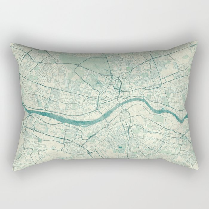 Newcastle upon Tyne Blue Vintage Rectangular Pillow