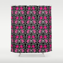 William Morris Pimpernel, Fuchsia Pink and Black Shower Curtain