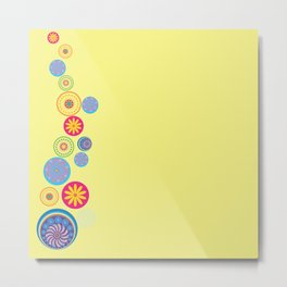 Circle Flower Love Metal Print