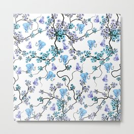 Modern lavender teal floral elephant butterfly pattern Metal Print