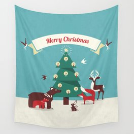 Christmas Animals and Christmas Tree Wall Tapestry