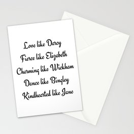 Pride and Prejudice Jane Austen Love Like Darcy Fierce Like Elizabeth Stationery Cards