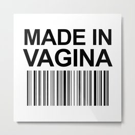 MADE IN VAGINA BABY FUNNY BARCODE Metal Print