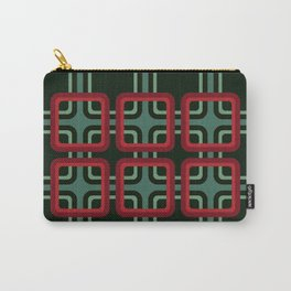 Geometric Pattern #69 (red & turquoise 1970s) Carry-All Pouch