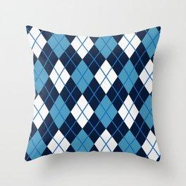 Blue White Argyle Throw Pillow