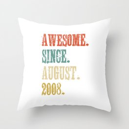 Awesome Since August 2008 10 Year Old Vintage Gift Throw Pillow