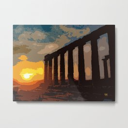 Sunset at Sounion Cape Metal Print
