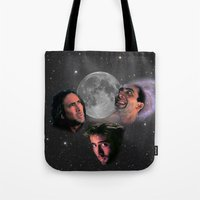 nicolas cage Tote Bags featuring 3 Cage Moon by Jared Cady