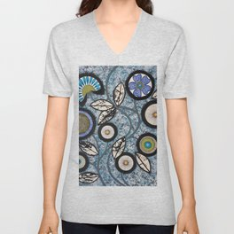 Lovely Flowers Blue Unisex V-Neck
