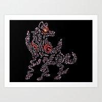 Okami Amaterasu - Cherry Blossom Form [BLACK] Art Print