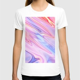 Colorful flowing marble swirls background T-shirt