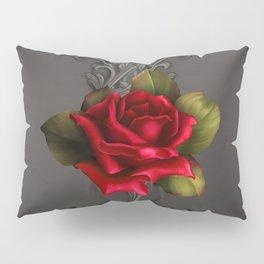 Gothic Glamour Red Rose Black Ornamental Glam Pillow Sham