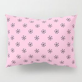 Black on Cotton Candy Pink Snowflakes Pillow Sham