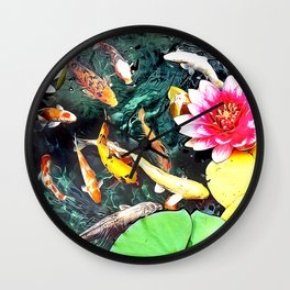Koi and Water Lilies Wall Clock