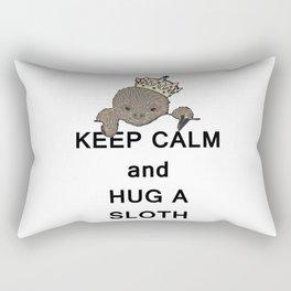 Keep Calm and Hug a Sloth with Crown Meme Rectangular Pillow