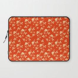 GOLDEN ROSE FLOWERS ON RED Laptop Sleeve