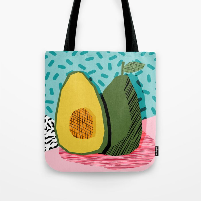 Choice - wacka memphis throwback retro neon fruit avocado vegetable vegan vegetarian art decor Tote Bag