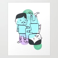 best friends Art Prints featuring Best Friends by Silva Ware by Walter Silva