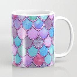 Colorful Pink Glitter Mermaid Scales Coffee Mug