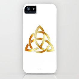 Golden triquetra celtic cross-3 point Celtic Trinity knot iPhone Case