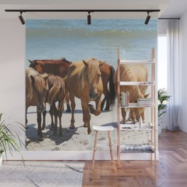 Watercolor Horse 58, Assateague Pony, Assateague, Maryland, Hanging with the Herd Wall Mural