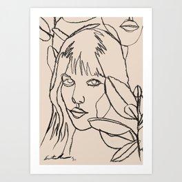 Femme et Plantes Art Print