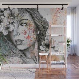 Mascara (expressive female portrait with freesias) Wall Mural