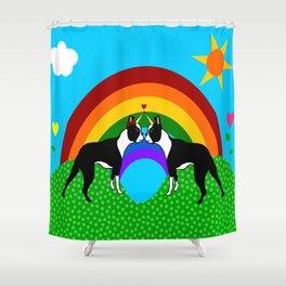 Boston Terrier Unicorn Love Shower Curtain