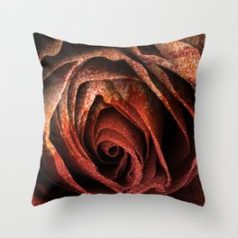 Bleeding Rust Rose Throw Pillow
