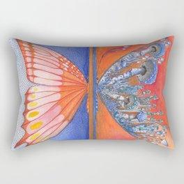 Butterfly / Mushroom in Bright Orange and Blue Combo Rectangular Pillow