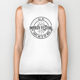 Improv Festival Shirts (Tyopgraphy) Biker Tank