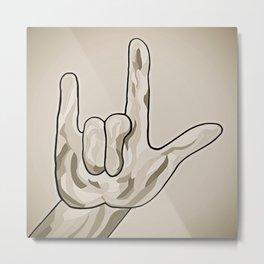 ASL I Love You Sepia Tones Metal Print